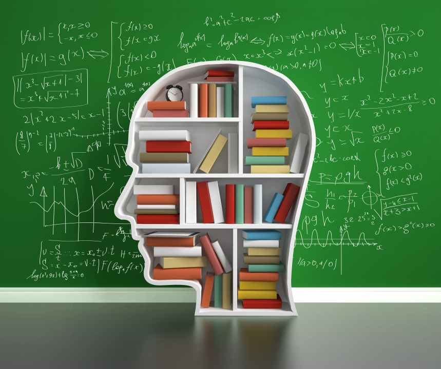 education concept, bookshelf head with colored book