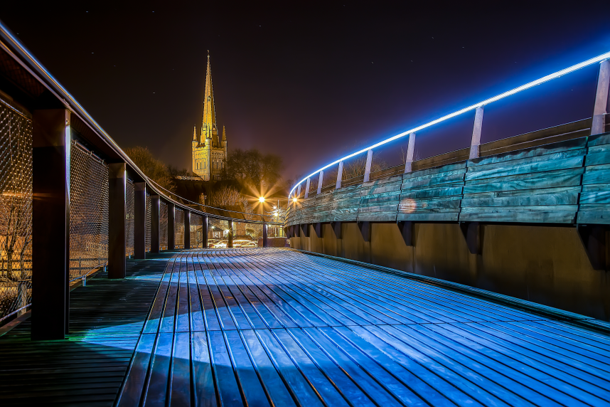 Norwich Cathedral viewed from Jarold footbridge