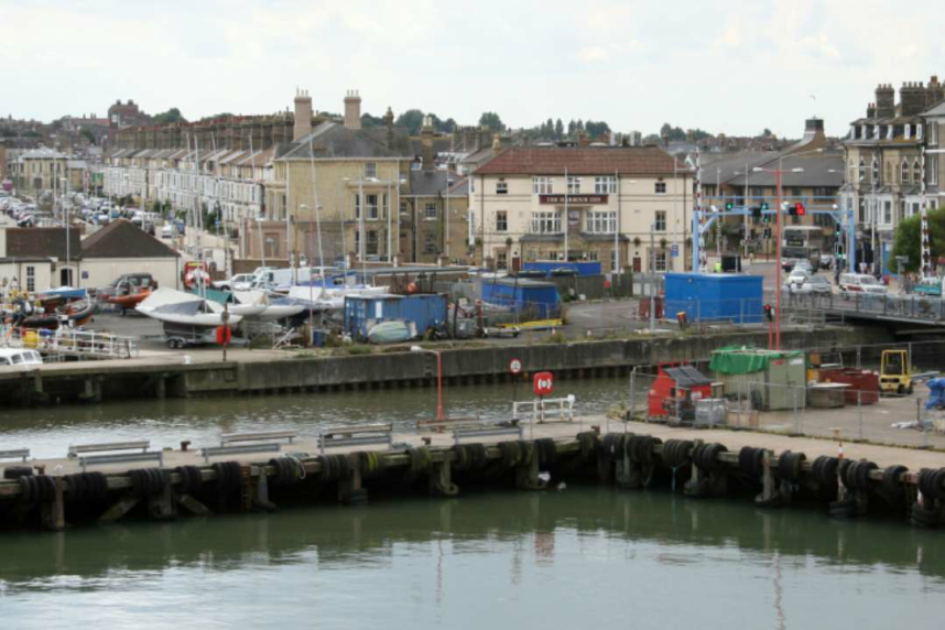 Lowestoft Harbour with boats and buildings