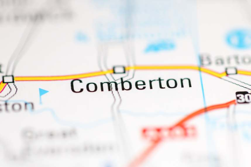 Comberton. United Kingdom on a geography map