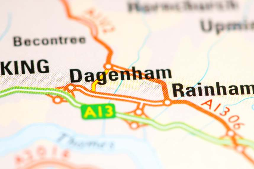 Dagenham. United Kingdom on a map
