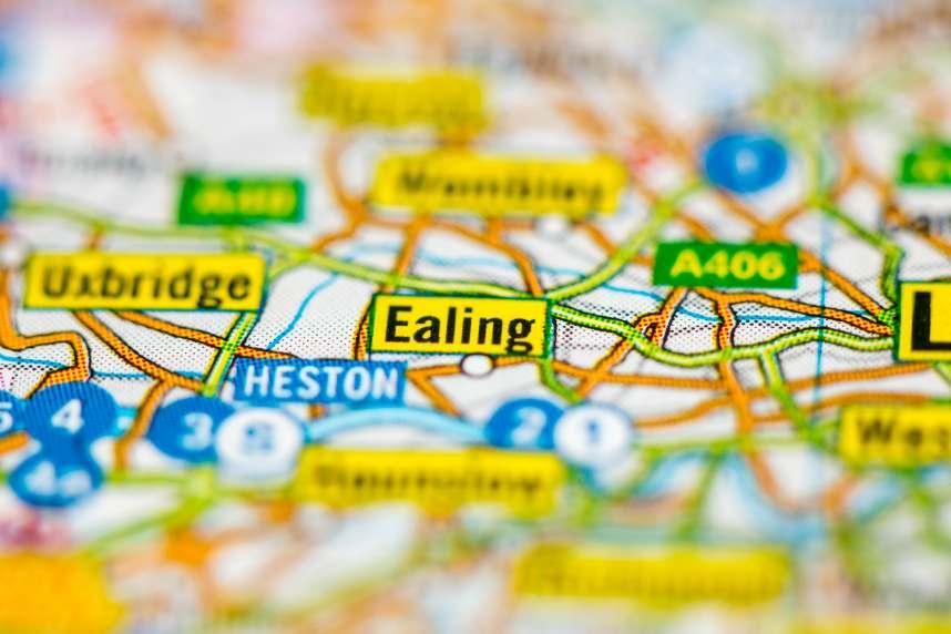 Ealing on Map of London